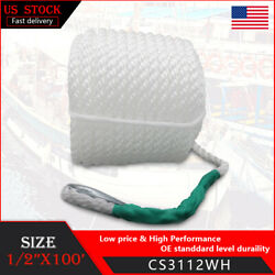 1 2quot;x100#x27; Twisted Three Strand Marine Docking Anchor Rope Boat Line With Thimble $21.48
