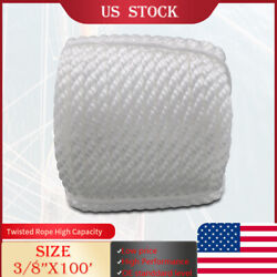 White 3 8quot;x100#x27; Twisted Three Strand Anchor Marine Rope Boat Dock Line W Thimble $17.89