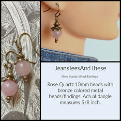 Rose Quartz Earrings Handcrafted Cute For Casual Wear Bronze Color Findings $7.00