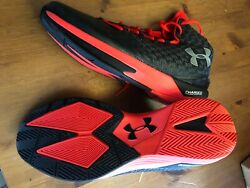 Size 13.5 Under Armour E24 Charged Black amp; Crim Basketball Shoes Mens High Top $100.00