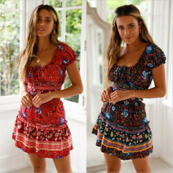 Women Two Piece Sexy Patchwork Short Sleeve Print Mini Boho Beach Dress Outfits $12.99