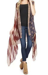 Sheer Drape USA American Flag Vest Scarf long Cover Up Cardigan Holidays July $11.99