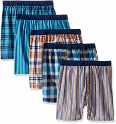 Fruit of the Loom Big Boys 5 Pack Covered Waistband Boxer Assorted S $12.68
