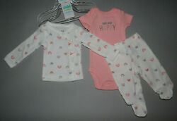 NWT Baby girl clothes Newborn Carter#x27;s 3 piece set NEW ARRIVAL $13.72