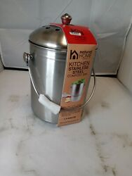 Natural Home Kitchen Silver Stainless Steel Compost Bin 1.3 Gallons $29.99