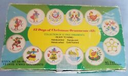 Vintage 12 Days of Christmas Ornaments Hand Painted 1982 SNP Hong Kong $44.99