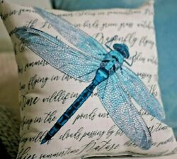 TEAL BLUE DRAGONFLY Outdoor Pillow 16quot; USA NEW Indoor Outdoor Word Art Pillows $12.99