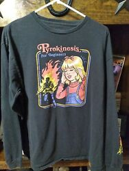 BLACK STEVEN RHODES PYROKINESIS FOR BEGINNERS LS T. .SHIRT SIZE LARGE $12.00