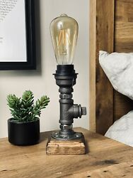 Industrial Rustic Retro Style Pipe Light Steampunk Desk Table Bedroom Lamp Light GBP 25.99