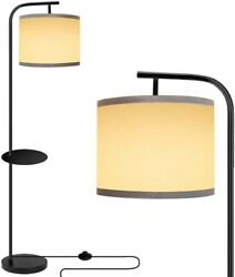 Standing Lamp Modern Floor Reading Living Room Black Shade Adjustable With Table $62.50