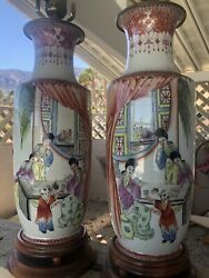 """Antique Pr. Hand Painted amp; Thrown Porcelain Chinese Lamps Vases 18"""" Famille Rose $319.20"""