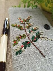 Handmade Fabric Embroidered Notebook Cover for Hobonichi Weeks Notebook Gray $35.99