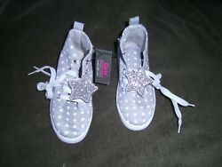 NEW GIRLS HIGH TOP TENNIS SHOES GREY TIES amp; ZIPPER SIZE 13 SOLE LENGTH 8 1 4quot; $4.89