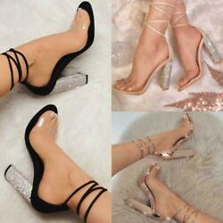 Sexy Women#x27;s Clear Strappy Tie Up Crystal Block High Heels Sandals Party Shoes $34.90