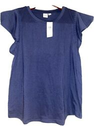 NWT GAP Women#x27;s Navy Blue TShirt Size Small with Flutter Short Sleeves $12.99