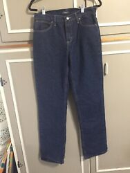 EUC Cabelas Womens High Waisted Flannel Lined Jeans Size 6 Long. 31x35 $24.99