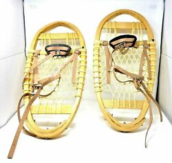 New Amish Handmade Wood Leather Bindings Traditional Bear Paw Snowshoes 10 x 24 $168.75