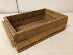 Natural Wood Small Crate Box Storage 13quot; by 7.5quot; Desk Top Catch All Slat Wood $22.00