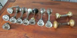 LOT OF ANTIQUE GLASS AND BRASS DOORKNOB SETS $58.00