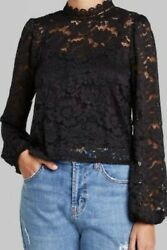 Wild Fable S Top Black Lace Balloon Long Sleeve High Neck Small Women