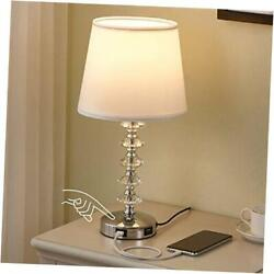 Touch Crystal Lamp for Bedroom with USB Ports USB Bedside Table Lamp White $44.04