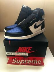 Nike Air Jordan 1 Royal Toe Retro High Size 10.5 Men BRAND NEW 555088 041 Blue $325.00