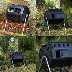 Dual Chamber Tumbling Composter Outdoor IM4000 Tumbling Composter 37gal. Black $82.99