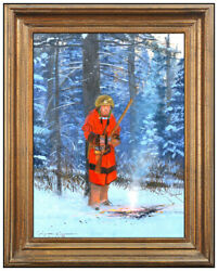Michael B Coleman Oil Painting on Board Native American Landscape Signed Framed $5495.00