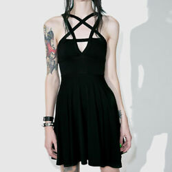 Women Gothic dress Pentagram Girls Goth Dress Skirt Sexy Mini Sun Black
