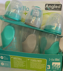 EvenFlo Angled 6 oz baby bottles Teal Gray New Free Shipping $13.99