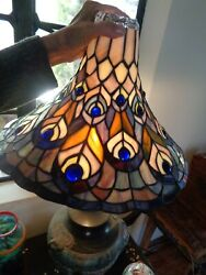 Vintage Torchiere Shade Stained Glass Peacock Feathers Blue Jewels $60.00