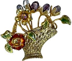 Vintage Flower Basket Brooch Pin Gold Tone Enamel Beads AB Rhinestone $12.99