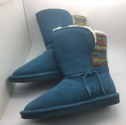 New BEARPAW® Maggie Size 7 Suede Sheepskin Boot Padded Insole NeverWet TURQUOISE $48.95