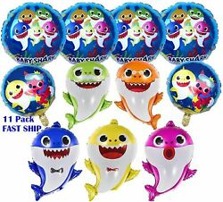 12 Pack Shark Family Helium Foil Balloons Kids Birthday Party Decorations $37.87