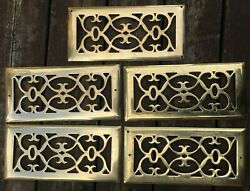 Lot of 5 Solid Bright Brass Floor Register Grates Vents 5quot; x 11quot; $44.99