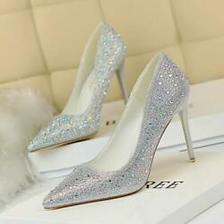 Sexy Womens Rhinestone Pointed Toe Stiletto High Heel Glitter Party Shoes $39.25