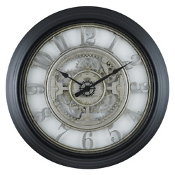 28quot; Sterling amp; Noble Rustic Gear Wall Clock with Raised Arabic Numbers $49.99
