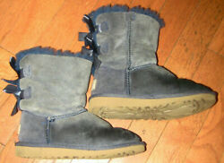LITTLE GIRLS UGG SUEDE BLUE BOOTS 12 BOWS FUR SHOES $50.00
