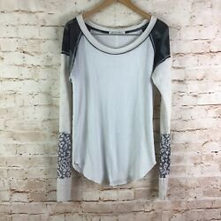 Free People Thermal White Camo Boho Peasant Top Size XL $34.99