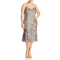 Adrianna Papell Womens Pink Sequined Cocktail Midi Dress Petites 12P BHFO 9024 $11.99