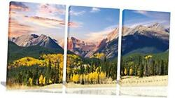 Mountain Wall Art Wall Decor for Living Room Natural 16quot;x24quot;x3Piece Orange $87.95