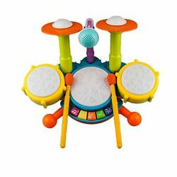 Rabing Kids Drum Set Electric Musical Instruments Toys with 2 Drum Sticks B $58.22