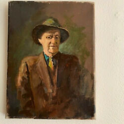 Old Oil Painting of a Man in a Suit and Hat Perhaps a Reporter or Detective? $55.00