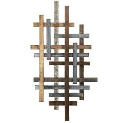 Wood Metal Wall Modern Plank Straight Lines Unique Geometric Home Decor Rustic $99.88