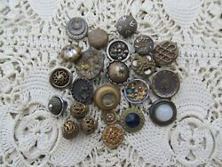LOT OF 23 ANTIQUE VICTORIAN VINTAGE SMALL FANCY METAL BUTTONS $27.99