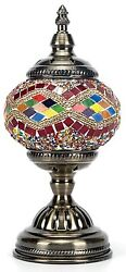 Stained Glass Table Lamp Vintage Bedroom Nightstand Desk Office Mosaic Decor New $59.99