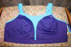 Nwt 42D Champion 1602 Spot Comfort Double Dry Max Support Purple Teal Sports Bra $34.99