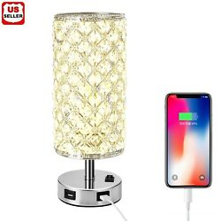 Modern USB Crystal Table Lamp Decorative Lamp with Dual Fast USB Charging Ports $22.98