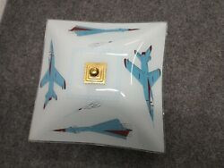 Vintage Ceiling Light Fixture Glass Shade Airplanes Fighter Jet rocket $20.00