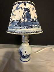 Vintage Delft Holland Small Table Lamp w Decorative Shade $49.99